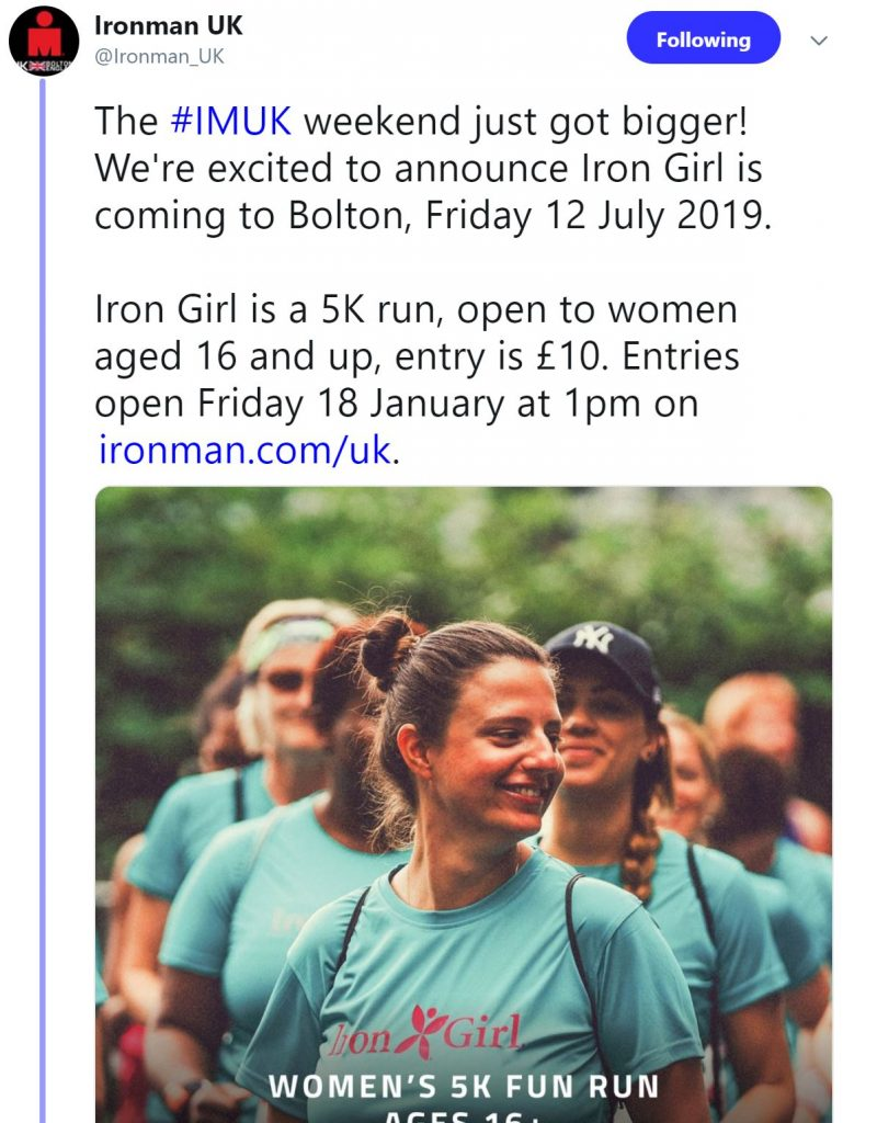 Iron Girl 5K original tweet